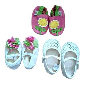 Bundle of 3 baby soft sole shoes